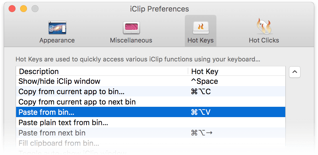 iClip Preferences Window - Hotkeys